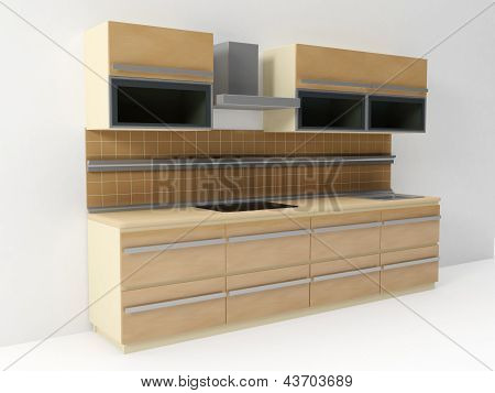 3D Illustration: Kitchen, In A White Room