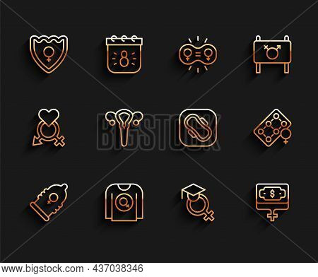 Set Line Condom, Feminist Shirt, Gender Shield, Female, Teacher, Money Growth Woman, Reproductive Sy