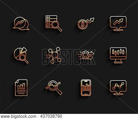 Set Line Document With Graph Chart, Search Data Analysis, Financial Growth, Mobile, Graph Infographi