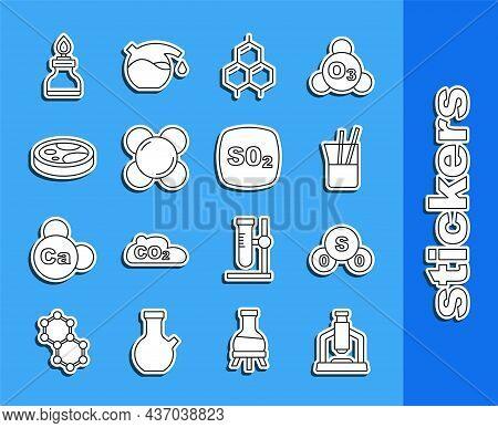 Set Line Microscope, Sulfur Dioxide So2, Laboratory Glassware, Chemical Formula, Molecule, Petri Dis