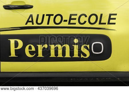 Lyon, France - April 9, 2019: Driving School, Licence On A Car Called Auto-ecole, Permis In French L