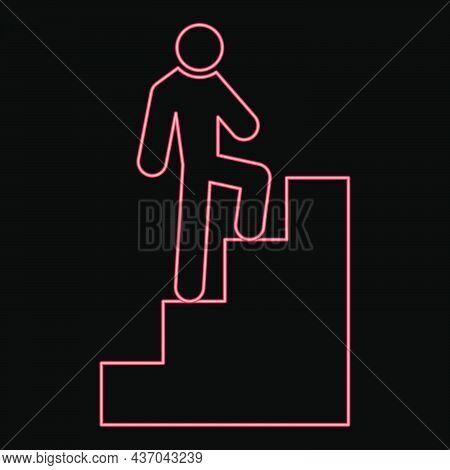 Neon A Man Climbing Stairs Red Color Vector Illustration Flat Style Light Image