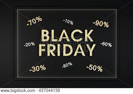 Black Friday Sale Promotional Banner On Black Background And Gold Sign. Black Friday Sale Concept. S