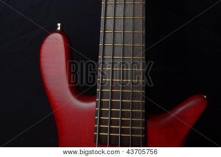 Red bass guitar