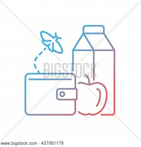 No Money For Food Gradient Linear Vector Icon. Poverty And Hunger. Lack Of Nutrition. Can Not Afford