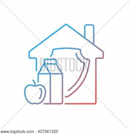 Household Food Security Gradient Linear Vector Icon. Family Food Consumption. Healthy And Adequate N