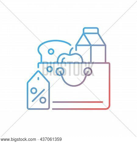 Reduced Food Prices Gradient Linear Vector Icon. Grocery Discounts. Buying Products At Low Price. Po