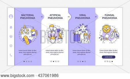 Respiratory Inflammation Types Onboarding Vector Template. Responsive Mobile Website With Icons. Web