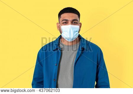 Indian man volunteer wearing face mask in the new normal