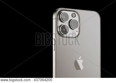 Iphone 13 Pro On A Black Background. Three Close-up Phone Cameras, Apple Logo. Russia, Krasnoyarsk 1