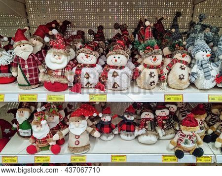 Thessaloniki, Greece - October 19 2021: Christmas Themed Products On Shelves Of Toy Shop. Decorating