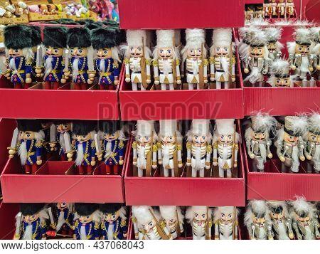 Thessaloniki, Greece - October 19 2021: Christmas Decorative Tin Nutcracker On Shelves Of Toy Shop.