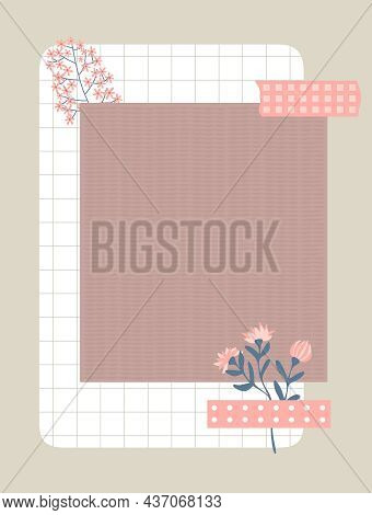 A Sheet Of Textured Paper Taped To Wall With Pink Duct Tape. Notepaper, Flowers And A Sheet Of Check