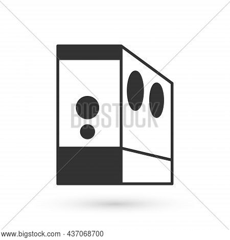 Grey Case Of Computer Icon Isolated On White Background. Computer Server. Workstation. Vector