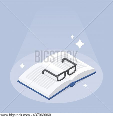 Reading Book Knowledge Isometric Vector Illustration. Open Paper Textbook With Eyeglasses Learning O