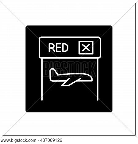 Red Channel Glyph Icon.route For Passengers Wishing To Declare Goods.pointer. Alcohol Or Tobacco In