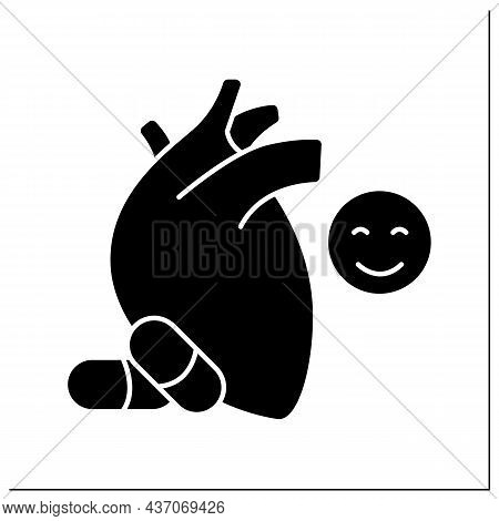 Medical Treatment Glyph Icon.heart Disease Prevention.perfect Treatment. Painkillers And Medicine. H