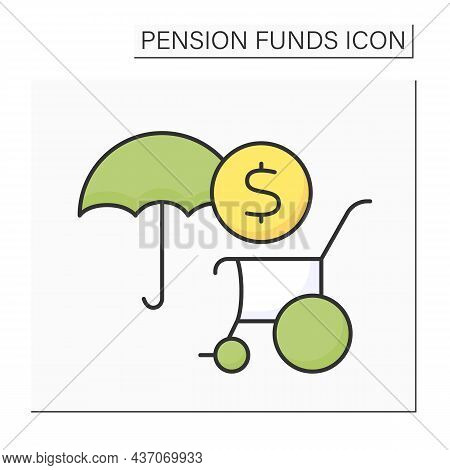 Disability Pension Color Icon. Individual Insurance. Physical Or Mental Impairment. Disability Payme