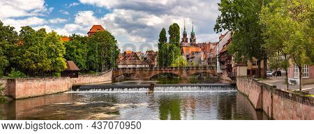 Panorama Of Church And Bridge Over Pegnitz River In Old Town Of Nurnberg, Eastern Bavaria, Germany