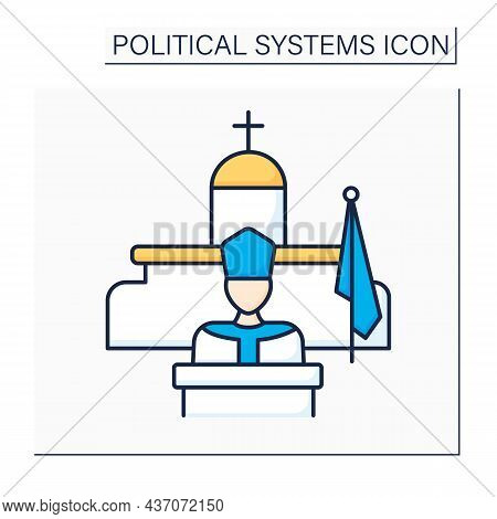 Theocracy Color Icon. Government Form. Priests Rule In Name Of God Or God. Ruled By Religious Leader