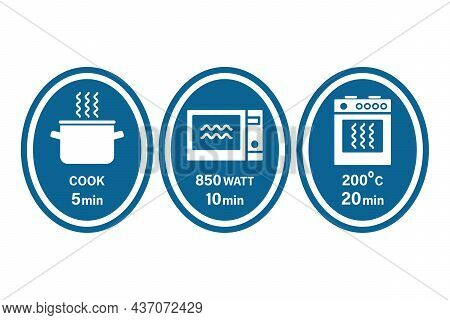 Pot, Microwave And Oven Cooking Instruction Symbols. 5, 10, 20 Minutes. Vector Illustration, Flat St