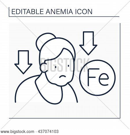 Anemia Line Icon. Lack Of Iron In Adult Woman Immune System. Low Life Energy. Health Protection Conc