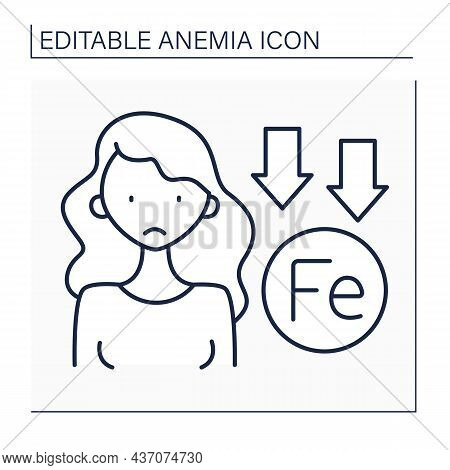 Anemia Line Icon. Lack Of Iron In Woman Immune System. Low Life Energy.disease Symptom. Health Prote