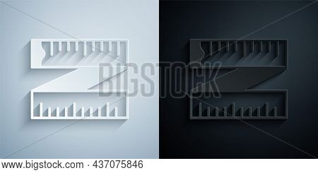 Paper Cut Tape Measure Icon Isolated On Grey And Black Background. Measuring Tape. Paper Art Style.