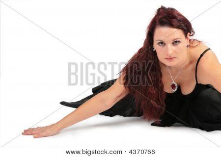 Attractive Woman In Black Dress