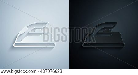 Paper Cut Electric Iron Icon Isolated On Grey And Black Background. Steam Iron. Paper Art Style. Vec