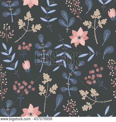 Vector Seamless Pattern With Blue Plants And Flowers In Blue Colors.