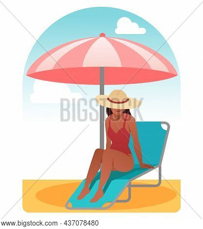 Woman Sunbathing On Chaise Longue. Character Lying On Comfortable Chair Under Umbrella. Rest And Rel