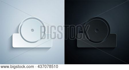 Paper Cut Otolaryngological Head Reflector Icon Isolated On Grey And Black Background. Equipment For