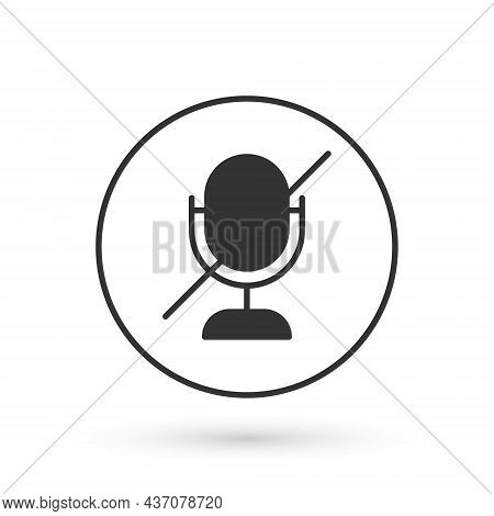 Grey Mute Microphone Icon Isolated On White Background. Microphone Audio Muted. Vector