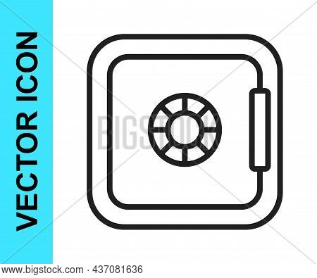 Black Line Safe Icon Isolated On White Background. The Door Safe A Bank Vault With A Combination Loc