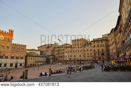 Siena (italy), September 7, 2021. Plaza Del Campo. It Is The Main Square In The Historic Center Of S
