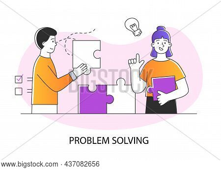 Problem Solving Concept. Man And Woman Hold Puzzle Pieces And Connect Them. Overcoming Obstacles And