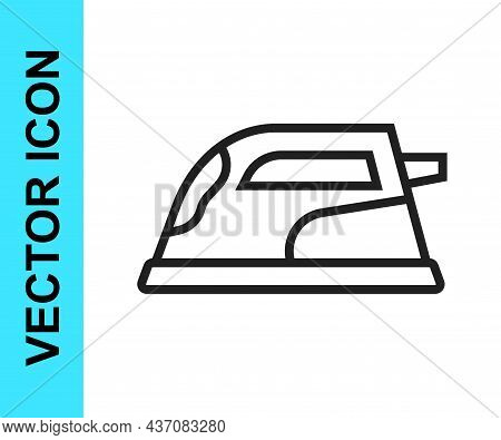 Black Line Electric Iron Icon Isolated On White Background. Steam Iron. Vector