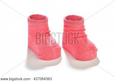 Baby Goods: Baby Booties Isolated on White Background