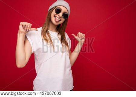 Photo Of Young Emotional Positive Happy Funny Winsome Attractive Dark Blonde Lady With Sincere Emoti