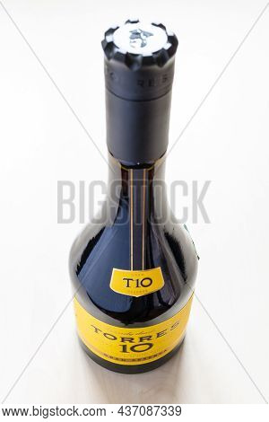 Moscow, Russia - October 16, 2021: Closed Bottle With Torres Gran Reserva 10 Spanish Brandy. Torres