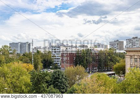 Moscow, Russia - August 24, 2021: Above View Of Residential Area Near Zoya And Alexander Kosmodemyan