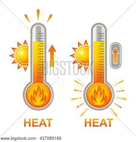 Hot Thermometer With Fire Flame, High Heat Temperature, Danger Extreme Overheating Icon Set. Warm Su