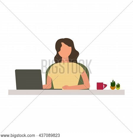 Woman Sitting In A Chair While Work At Home Or Coworking Space. Woman Freelancer Work On Laptop Comp