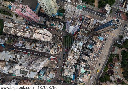 Wong Tai Sin, Hong Kong 27 July 2021: Top down view of Hong Kong residential district
