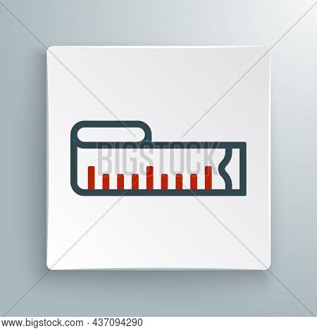 Line Tape Measure Icon Isolated On White Background. Measuring Tape. Colorful Outline Concept. Vecto