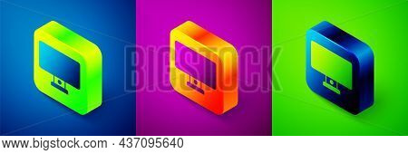 Isometric Computer Monitor Icon Isolated On Blue, Purple And Green Background. Pc Component Sign. Sq