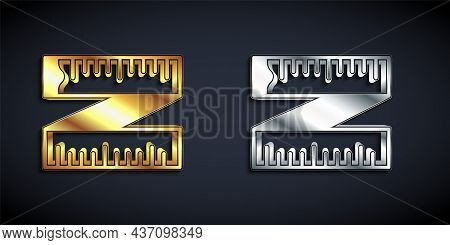 Gold And Silver Tape Measure Icon Isolated On Black Background. Measuring Tape. Long Shadow Style. V