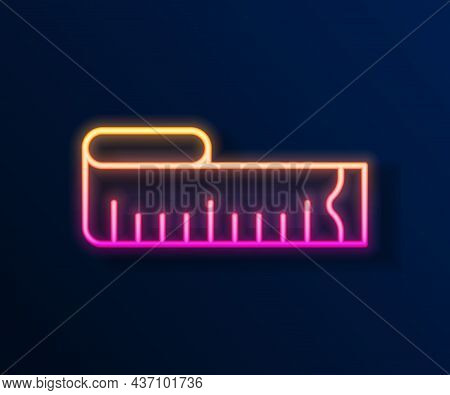 Glowing Neon Line Tape Measure Icon Isolated On Black Background. Measuring Tape. Vector