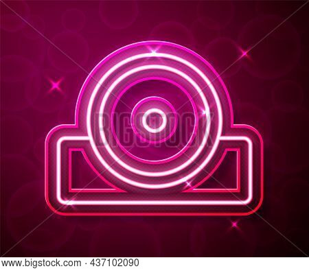 Glowing Neon Line Otolaryngological Head Reflector Icon Isolated On Red Background. Equipment For In